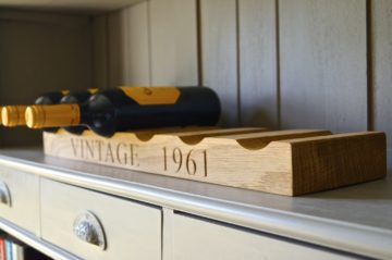personalised engraved solid oak wine rack